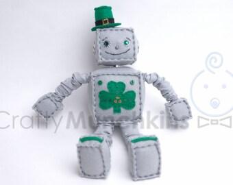 Cute St Patricks Day Plush Felt Robot