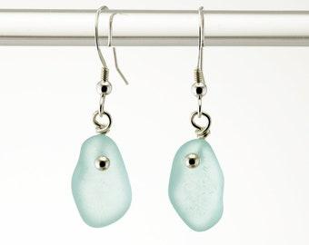 Sterling Silver with Sea Foam Genuine Sea Glass Earrings