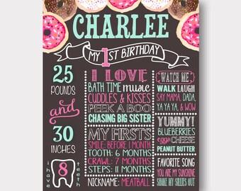 Donut Birthday Chalkboard | Donut Birthday Invitation | First Birthday | Donut Birthday Stats Board