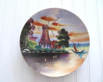 Funabashi Souvenir Plate - Colorful Windmill,  Sunset and Sailboats