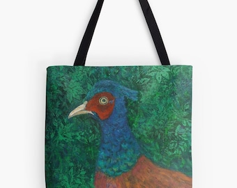 "You're Game Pheasant Tote Bag - Artist's Mixed Media Painting Design. Two Sizes Available Medium 16"" and Large 18"""