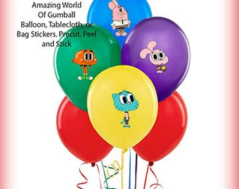 Amazing World of Gumball Balloon Stickers Precut Decorations Self Adheshive Party Favor Balloon Decals