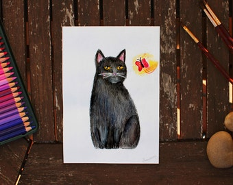 Cat and Butterfly, Original Cat Painting, Black Cat Painting, Cat Painting, Watercolor Cat, Cat Illustration, Black Cat Art, Cat Art