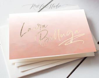 Pink watercolour makeup artist business card