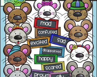 Mice Feelings Faces and Labels Clip Art - Chirp Graphics