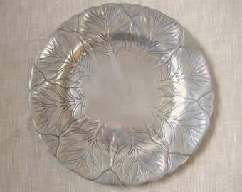 """Arthur Court Cabbage Leaf Tray Platter Aluminum Alloy 12"""" Round Vintage 1980 Tagged Fillamento San FranciscoServing, Country Kitchen Decor"""