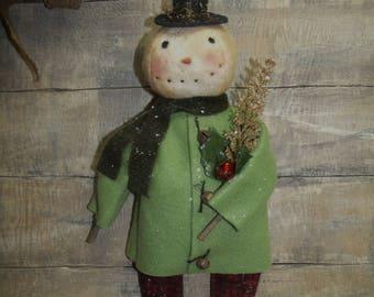 Primitive Snowman/Primitive Christmas doll/SHERMAN/primitive handmade/christmas handmade snowman/hanger/sitter/snowman doll