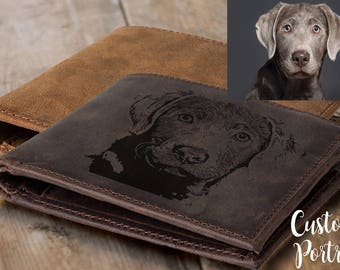 dog gift pet modern dog memorial gift  bohemian leather wallet custom pet portrait pet memorial pet loss gift pet sympathy gift men gift