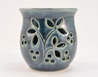 Candle Holder Luminary Votive Candle Tea Light Holder Wheel Thrown Stoneware Pottery Blue Home Decor