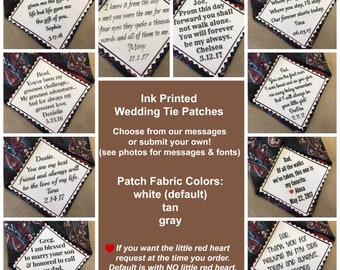 """Ink Printed WEDDING TIE PATCH 2.5"""" x 2.5"""" - Choose Diagonal Message, Sew On or Iron On, Father of the Bride, Father of the Groom, Groom"""