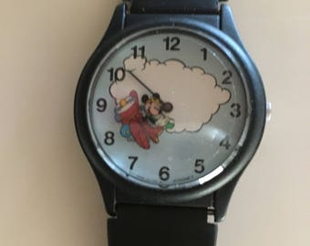 Mickey Mouse Animated Minute Hand Airplane Watch  Vintage New of Stock