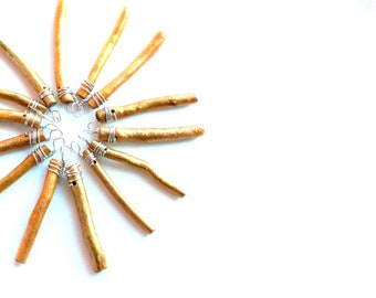 Gold Coral sticks 10 for 10. wire wrapped sea coral crafting supplies sticks pendants charms. gold ornament sticks