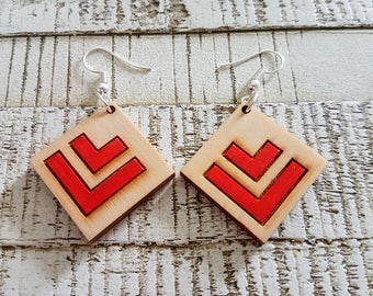 Wooden Diamond Two Tone Red Double Chevron Earrings