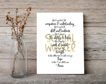 Printable Social Worker Quote, A Social Worker's Prayer, Gift for Social Worker Graduate Gift, Gift Printable Last Minute Gift Social Worker