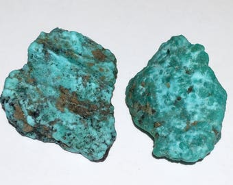 2pc Rare 11.3g Authentic Natural Raw Morenci Turquoise Crystal Nugget Set - Morenci, Arizona, USA - Item:TQ17051