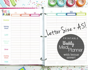 Weekly Meal Planner, Printable Inserts, Menu planner, Weight Loss, Letter Size, a5 planner, filofax, happy planner, discbound inserts