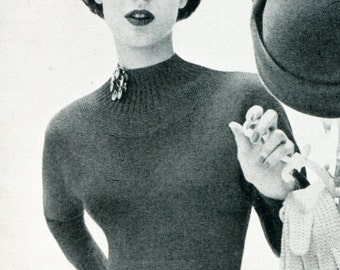 1950's Mid Century Fitted Rockabilly Sweater Knitting PDF Pattern Instant Download
