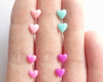 Pastel Heart Earrings Hypoallergenic clip ons / Non-pierced ears / Pierced ears / Metal free jewelry / Sensitive Ears / Kid jewelry / Love