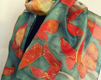 Hand painted silk scarf- Flaming Butterfly Woman fashion Green silk scarf painted Bright silk shawl Unique handmade gift Christmas gift mom
