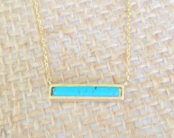 Turquoise Stone Bar Necklace small, gold, short dainty delicate turquoise stone bar necklace