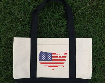 Canvas Tote Bag, Canvas Tote, Tote Bag, American Flag Tote Bag, America Tote Bag, Lunch Bag, Patriotic Bag, Flag Canvas Bag, Fourth of July