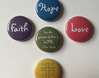 Faith Hope Love Magnets (Set of 5)