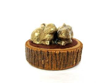 Vintage Brass Bunny Twins, Nursery Decor, Woodland Animals, Easter Bunnies