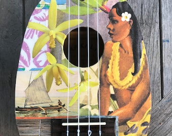 NEW OUTRIGGER DAWN, Hawaii, Hand-Collaged Makala Ukulele, Tropical, Playable Art, Collage, Flower, Ocean, Surf, Surf Art