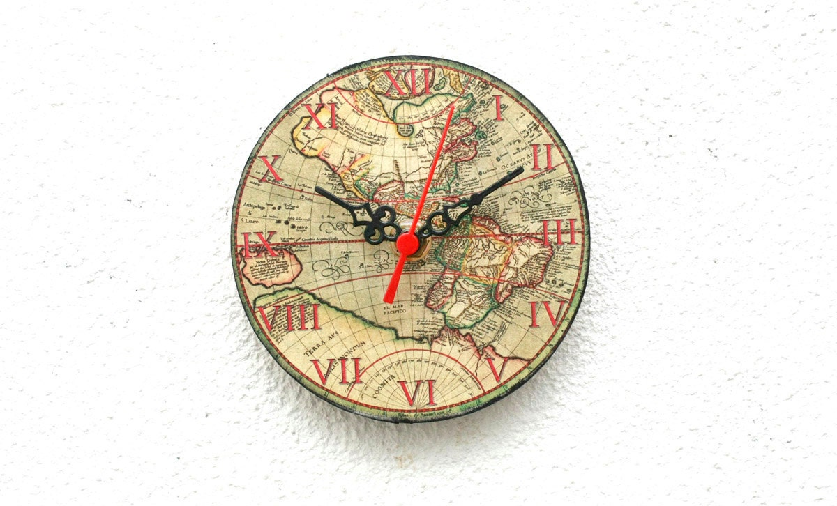 World map wooden clock magnetic clock vintage clock little zoom gumiabroncs Choice Image