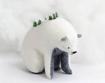 Winter Mountain Bear / Sitting Bear Soft Sculpture / Grizzly Bear Art / Mountain Art / Mountain Bear