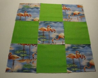 Pink Flamingos w/Green Blender Quilting Squares by Elizabeth Studios