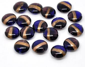 dark blue oval lampwork bead