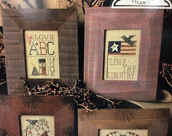 Miniature samplers, americana, counted cross stitch
