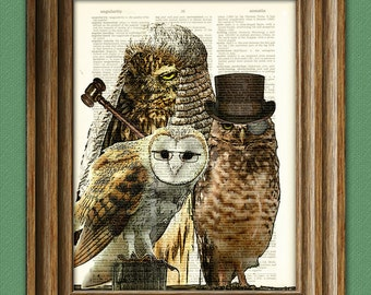 Owl Art Print A Parliament of Owls illustration Animal Groups Collection upcycled dictionary page book art print