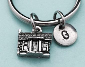 Cabin keychain, cabin charm, house keychain, personalized keychain, initial keychain, customized keychain, monogram