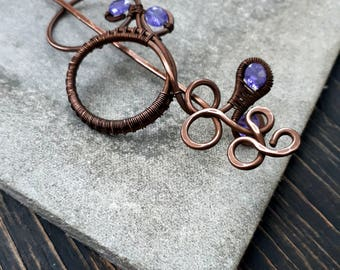 Infinity Hair Barrette Hair Slide - Shawl Pin Copper Hair Slide Wire Bun  Pin Wire Wrapped Scarf Sweater Pin -  Purple  infinity pin Large