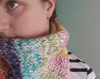 Knitted Rainbow Cowl