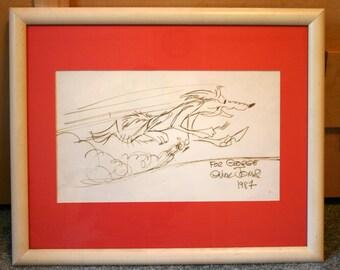 Wile e coyote art etsy 1987 chuck jones wile e coyote original ink drawing framed 8700 obo colourmoves