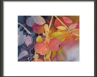 Mother's Day Gift Idea Instant Print Download 5x7 Print from Watercolor Autumn Apples Tree for framing