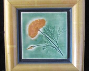 California Poppy: wall decor green golden yellow hm pottery framed tile craftsman inspired