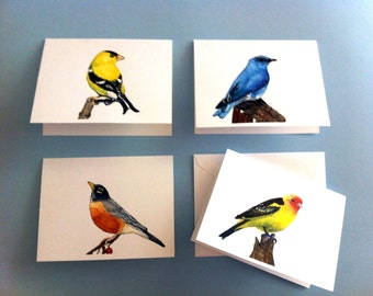 Watercolor Bird Cards - Set of 4