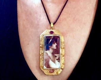 Goddess Pre-Raphaelite Grecian Art Pendant