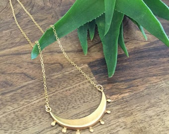 New! Brass Tribal Crescent Necklace