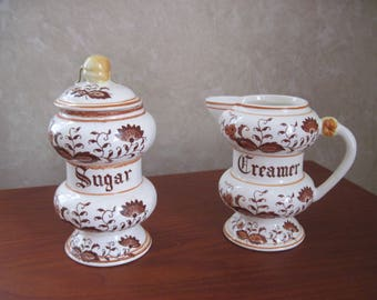 Brown Onion Sugar and Creamer Set by Arnat, Japan