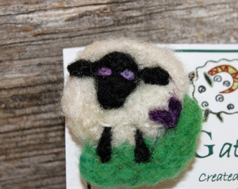 Sheep, Needle Felted Sheep Pin, Felted Sheep Brooch, # 1699