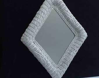 Vintage White Wicker Diamond Shape Mirror Mid Century Cottage Chic Mod Eclectic Boho Chic Bath Rectangle Boho Chic Dresser Sunroom Porch