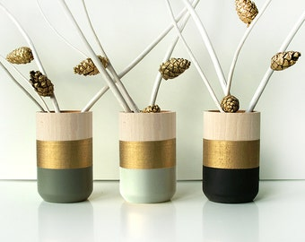 Wooden Vases - Home Decor - Set of 3 - Gold - perfect gift