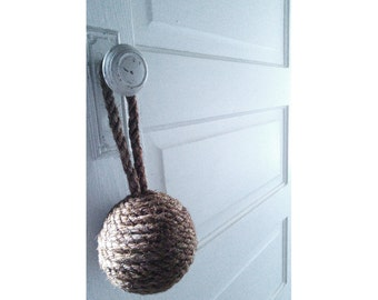 Medium Sisal Rope Doorstop, Decorative Rope Ball, Natural or Dyed Sisal Door Stopper, Assorted Colors