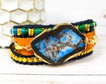 Boho Wrap Bracelet - Beaded Wrap Bracelet - Leather Cuff Bracelet - Bohemian Wrap Bracelet - Gypsy Jewelry - Yoga Jewelry - Leather Cuffs
