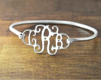 FREE Shipping-Personalized monogram bangle,alloy letters bracelet,personalized monogram jewelry, customized initials jewelry,bridesmaid gift